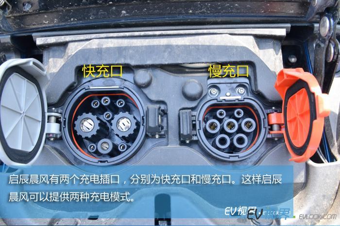 启辰晨风有两个充电插口,分别为快充口和慢充口。这样启辰晨风可以提供两种充电模式。