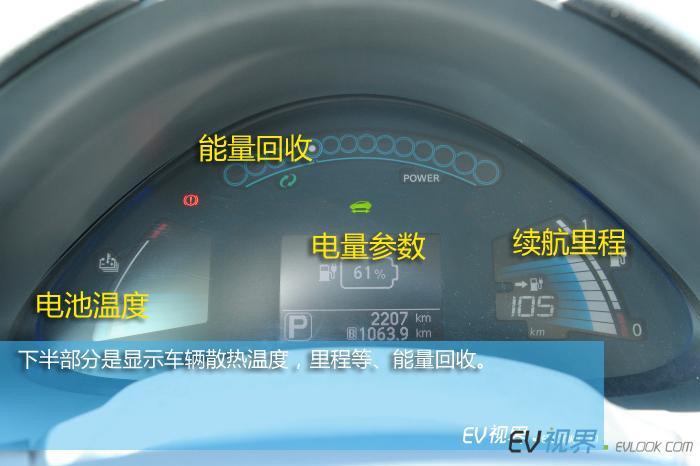 下半部分是显示车辆散热温度,里程等。