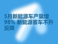 5月新能源車產量增98% 新能源客車不升反降