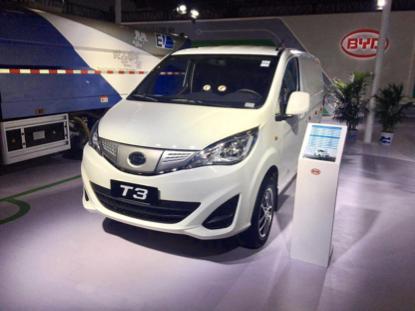 在本次展会上,比亚迪还展出了t3纯电动货车.