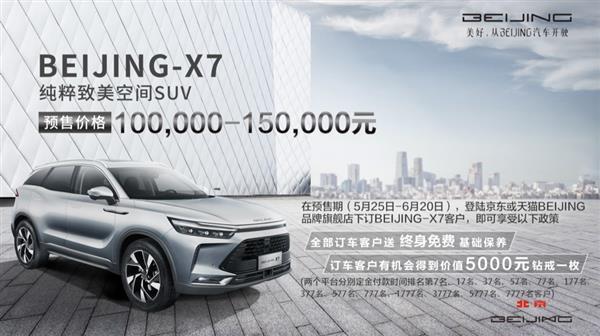 預售價10萬-15萬預訂享好禮 BEIJING-X7全面接受預訂